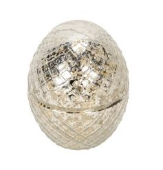 A fine quality, glamorous egg ornament with a champagne and silver cut glass finish.