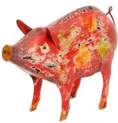 A colourful and quirky pig ornament. A unique decorative item for the home which is filled with rustic character
