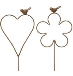 An assortment of 2 decorative garden stakes in heart and floral designs, each with a decorative bird.