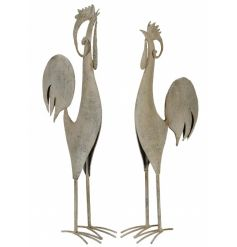 An assortment of 2 decorative metal chickens with a rustic grey finish.
