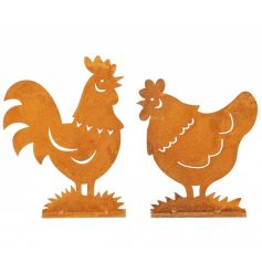 An assortment of 2 metal chicken ornaments with a rusted finish. Display on dressers, in the kitchen and around the home