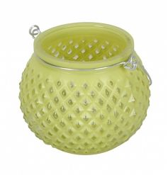 An attractive glass lantern with a diamond pattern and silver handle.