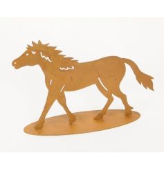 A rustic metal horse ornament with a rusted finish.