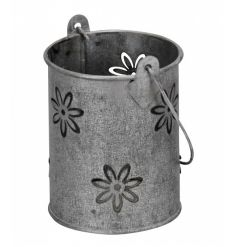 A rustic style lantern with a laser cut floral design. Ideal for planting, t-lights and for decorative use.