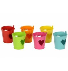 An assortment of 6 colourful bucket t-light holders with a heart shaped cut out design.