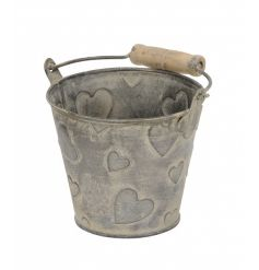A rustic style bucket with embossed hearts and wooden handle. Great for planting, storage and decoration.