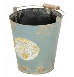 A vintage Parisian inspired metal bucket in green. Ideal for planting, display and storage.