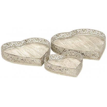 Rustic Heart Trays, Set of 3