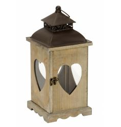 A stylish wooden lantern with heart windows.