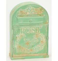 A Parisian inspired vintage post box in green. Display at home or use for cards at weddings and events.