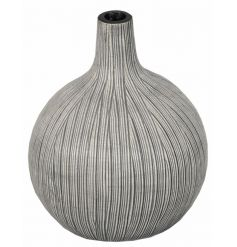 A decorative vase with a textured grey and cream finish. This item has a unique, handmade and stylish appearance.