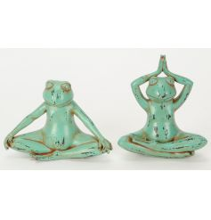 An assortment of 2 colourful and unique yoga frog ornaments with a rustic finish.