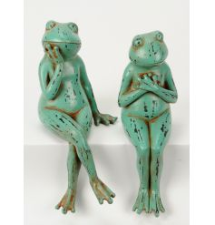 An assortment of 2 sitting frog ornaments, each with a green distressed finish.