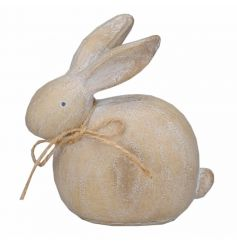 A charming wooden bunny ornament with a simple hessian bow. An adorable decoration to display around the home