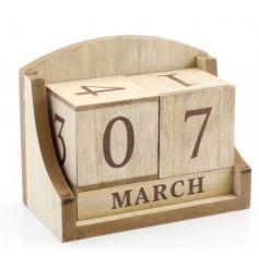 Rustic sanded wooden perpetual calendar,