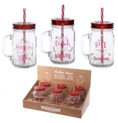 A mix of 3 fun and festive mason drinking jars with straws. An on trend seasonal gift item.