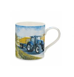 A fine china mug with a blue rural tractor design. Comes gift boxed.