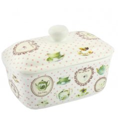 ceramic butter dish  with a dainty vintage pattern
