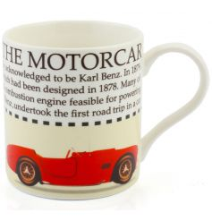 This motorcar fact mug with racing car illustration makes a great gift for car lovers.