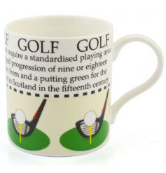 This golf mug with sporting facts and colour illustration makes a great gift item.