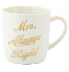 A stylish 'Mrs Always Right' mug with gift box. Making a great present for many occasions.