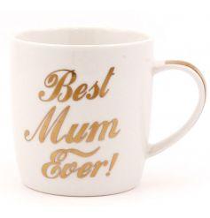 China mug individually gift boxed. Gold slogan lettering