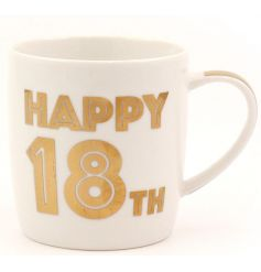 Celebrate with this stylish Happy 18th Mug. Complete with gift box. A great keepsake item!