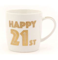 Celebrate with this stylish Happy 21st Mug. Complete with gift box. A great keepsake item!