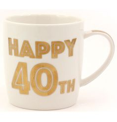 A bold 40th Birthday mug with gift box. A great gift idea and keepsake.
