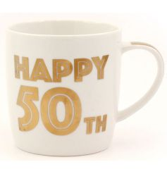 A bold 50th Birthday mug with gift box. A great gift idea and keepsake.