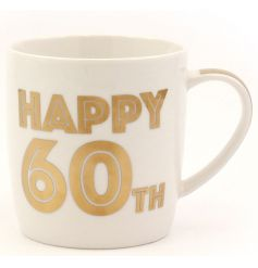 A bold 60th Birthday mug with gift box. A great gift idea and keepsake.