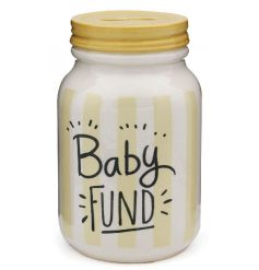 Save those pennies for your new arrival with this mason jar style money box in a neutral yellow design.
