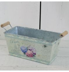 A rustic style trough with twin handles decorated with a pretty hydrangea decal. Perfect for planting.