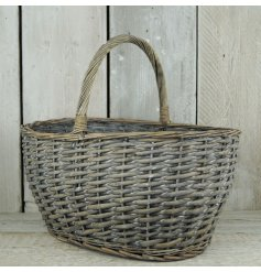 A charming wicker basket with a grey washed finish. Line and plant or use for storage in the home.
