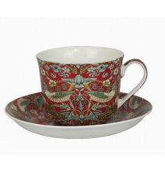 An attractive cup and saucer set in the popular Strawberry Thief design.