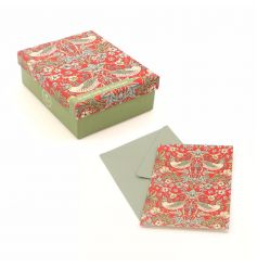 A pack of fine quality note cards in the popular Strawberry Thief design by William Morris.