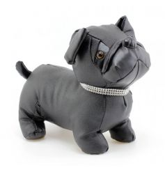 A stylish black pug doorstop with a diamante bling collar. A glamorous item for the home.