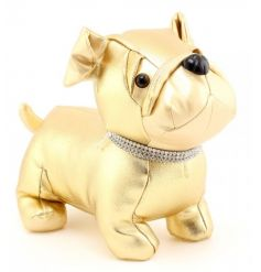 A glamorous gold pug doorstop complete with a diamante collar.