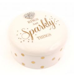 Rings and sparkly things jewellery trinket box with heart gem and polka dot design.