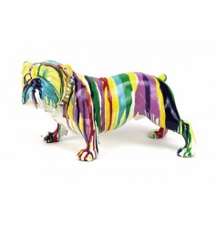 A contemporary bulldog ornament with a colourful artistic finish. A great statement piece for the home.