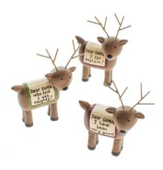 An adorable set of 3 reindeer ornaments with humorous dear santa slogans.