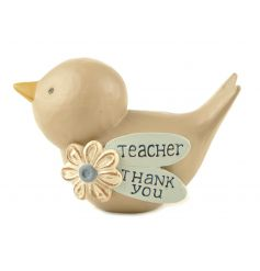 A gorgeous bird ornament with flower and a thank you note for teachers.