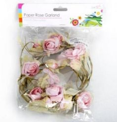 A pretty, vintage inspired rose garland. Ideal for displaying in bird cages, on wreaths and around the home.