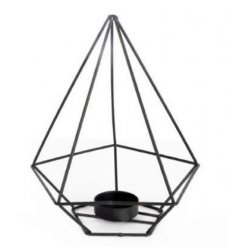 A stylish and contemporary diamond shaped t-light holder.