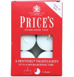 Pack of 6 candles by Price's, made in Italy