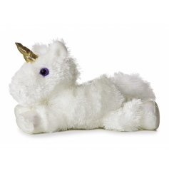 Super fluffy white unicorn soft toy, complete with magical purple eyes and a golden horn.