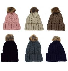 A mix of 6 knitted hats with faux fur pom poms. An on trend and stylish item in an assortment of colours.