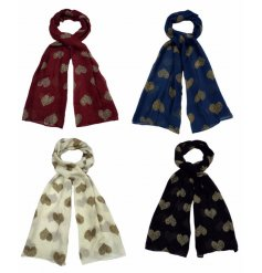An assortment of 4 stylish scarves each with a leopard print heart design. A great gift item and fashion accessory.