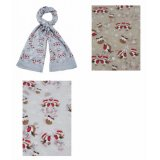 An assortment of 3 charming Christmas scarves featuring a robin and Christmas pudding design.