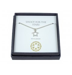 Shoot for the stars. A charming silver plated star necklace with gift box. A great gift item for many occasions.